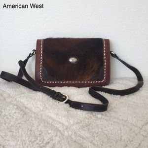 AMERICAN WEST Vintage Leather and Horse Hair Bag